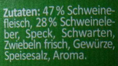 Mutter's Leberwurst - Ingredientes