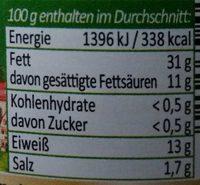 Mutter's Leberwurst - Información nutricional