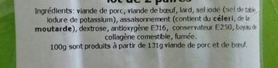 Gendarmes 2 Paires, Le Paquet, 0, 16Kg - Ingrediënten - fr