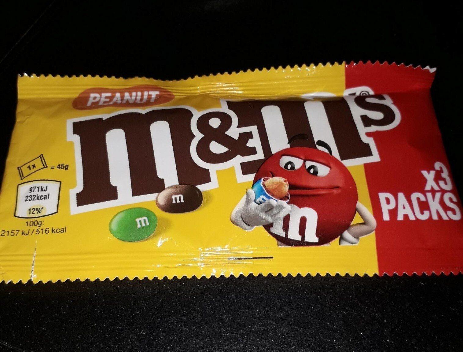 M&M's Peanut (x3 pack) - Nutrition facts - en