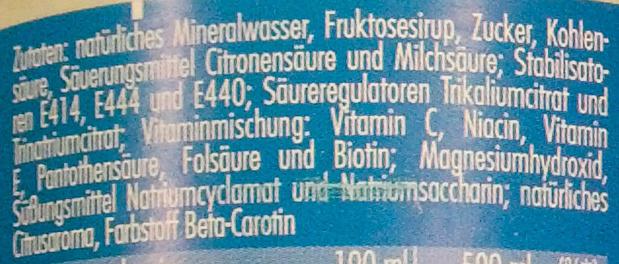 Urbacher Sport Grapefruit-Zitrone - Zutaten - de