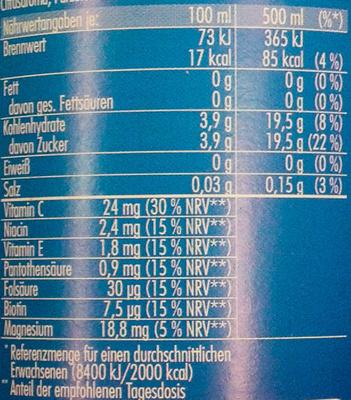 Urbacher Sport Grapefruit-Zitrone - Nährwertangaben - de