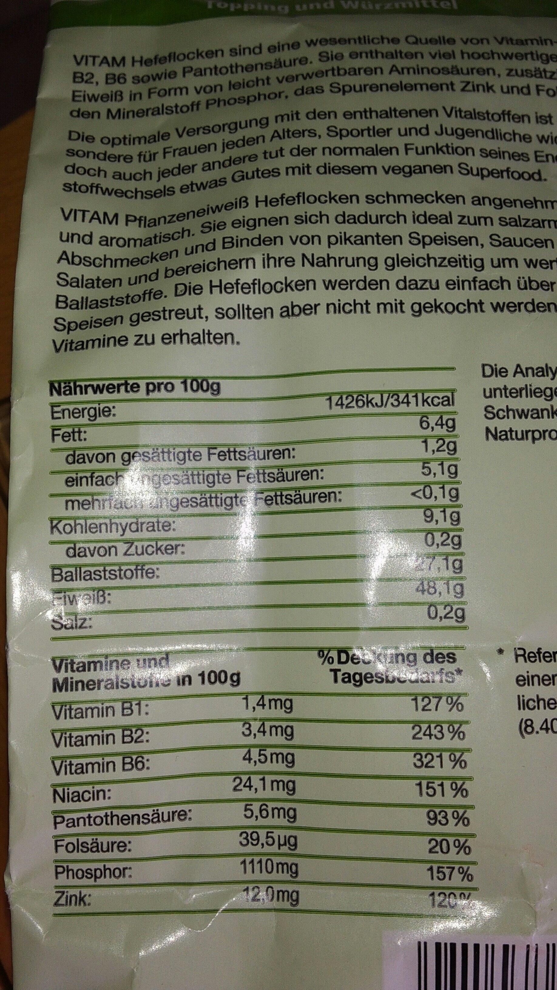 Hefeflocken - Nutrition facts - de