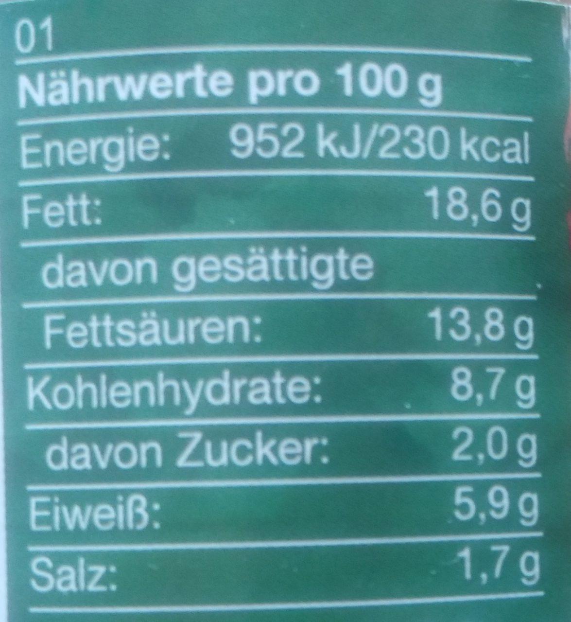 Wie Pfälzer Leberwurst - Voedingswaarden - de