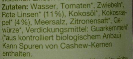 bio Kokos-Linsen-Hummus - Ingrediënten - de