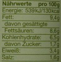 bio Kokos-Linsen-Hummus - Voedingswaarden - de