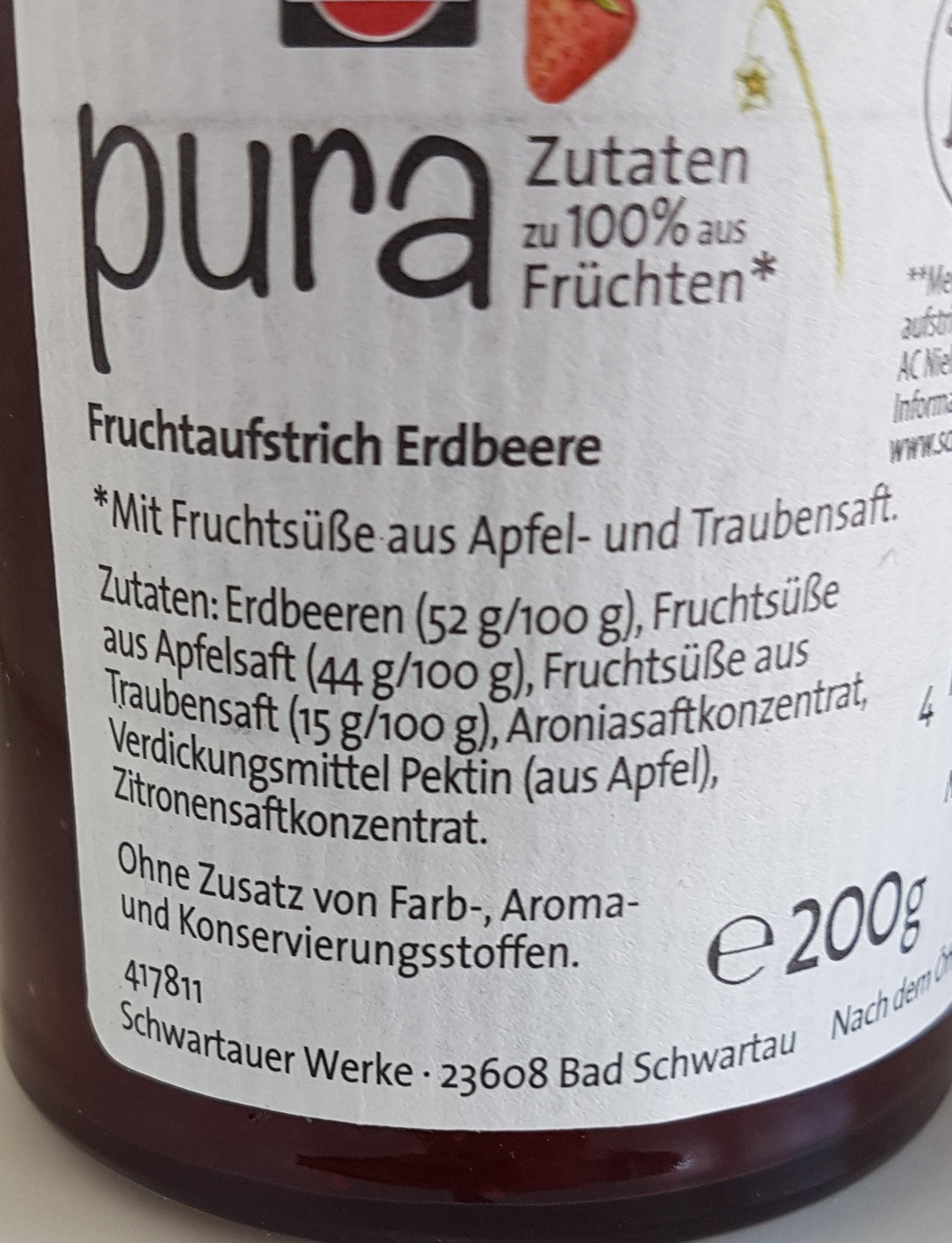 pura Erdbeere - Ingredients