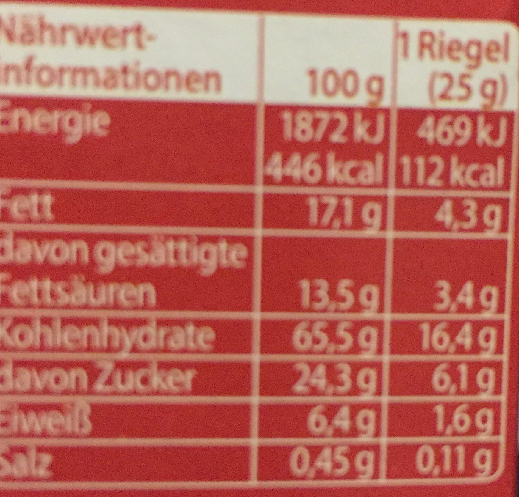 Corny Erdbeer-joghurt 6 Riegel - Ingrediënten