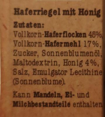 Corny Crunch Hafer & Honig - Ingredients - en