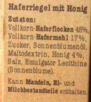 Corny Crunch Hafer & Honig - Ingrédients