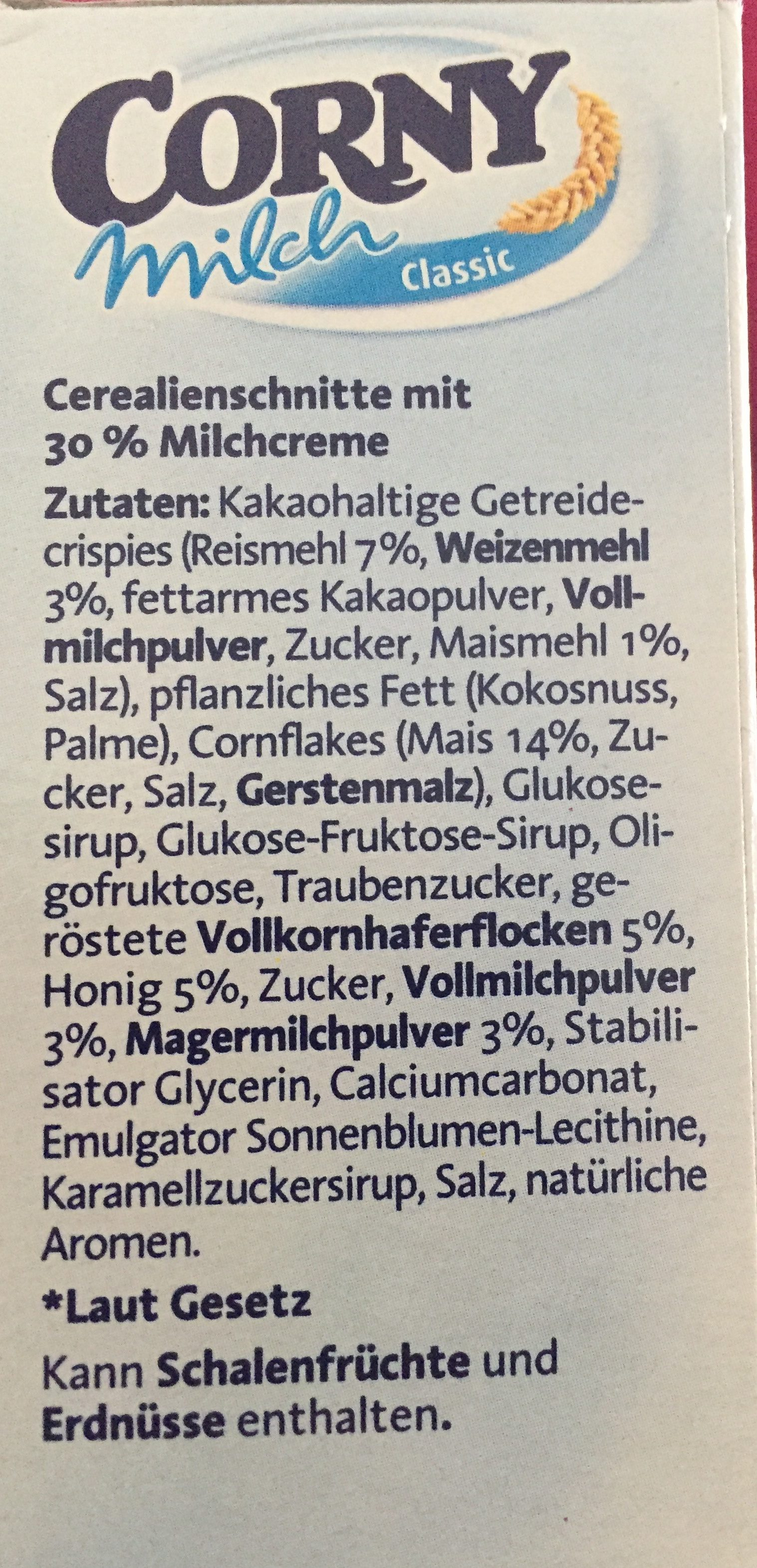 Corny Milch classic - Ingredientes - fr
