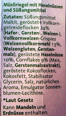 Corny free Haselnuss - Ingrediënten - de
