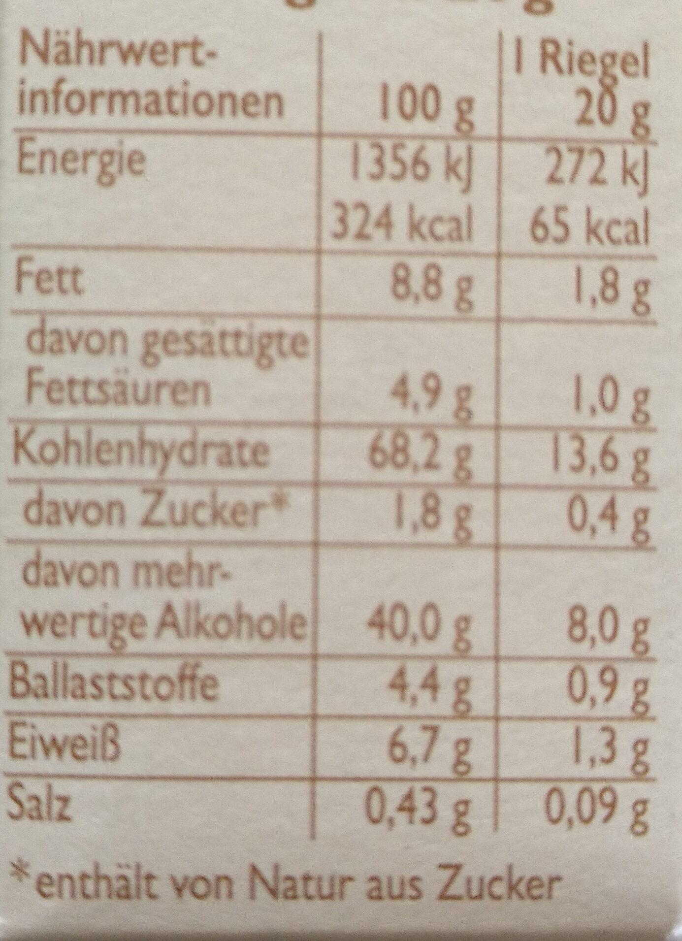 Weiße Schoko - Nährwertangaben - de