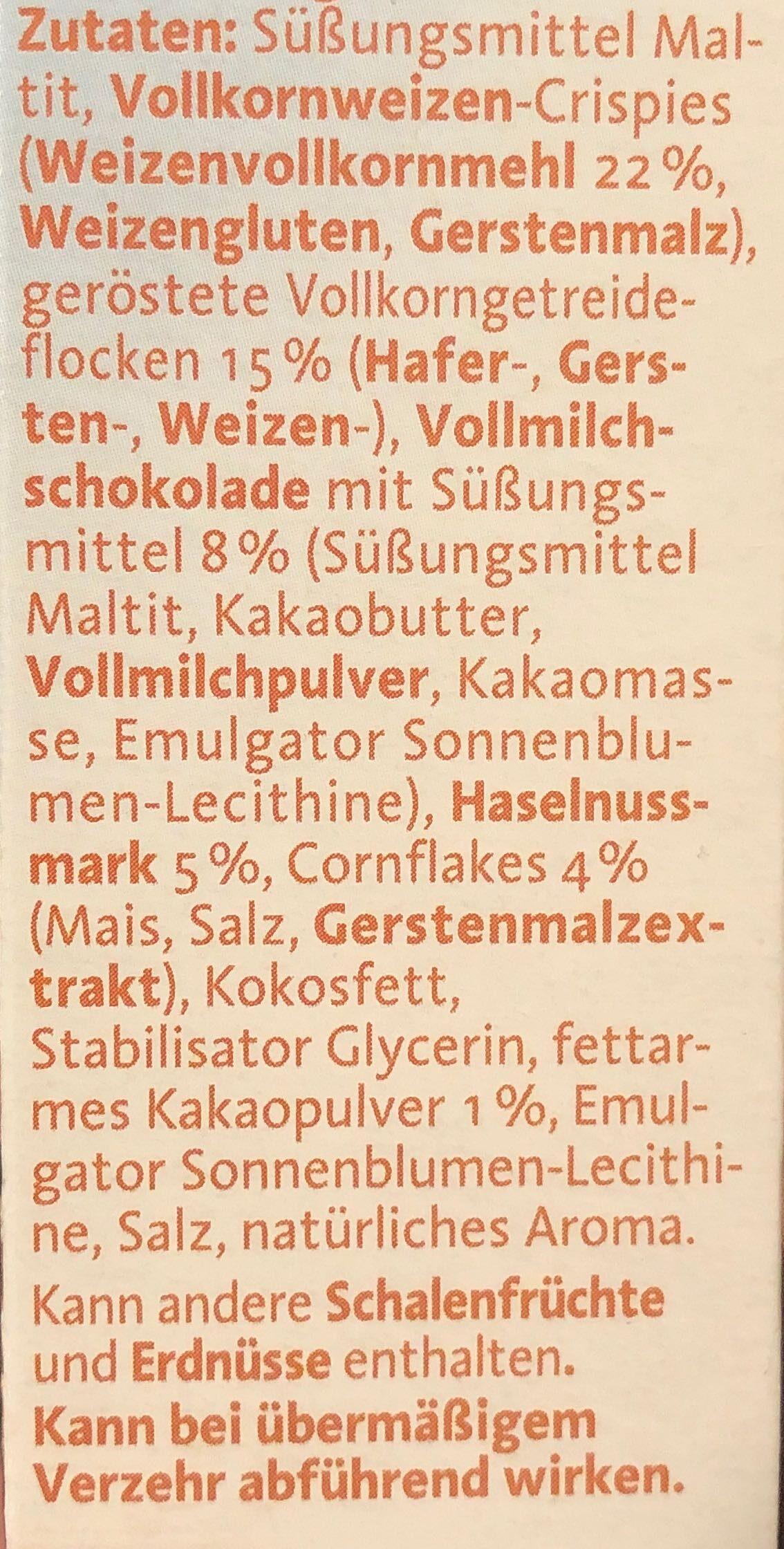 Nuss-Nougat Müsliriegel - Zutaten - de