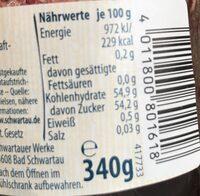 Confiture Extra Schwarzkirsche - Ernæringsfakta - de