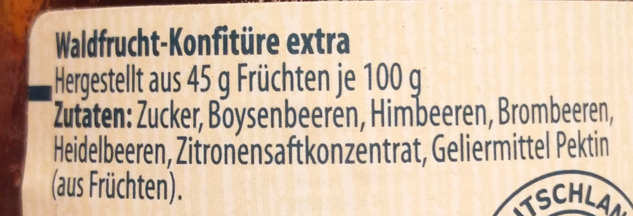 Extra Waldfrucht - Ingrédients - de