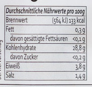 Gnocchetti - Informations nutritionnelles