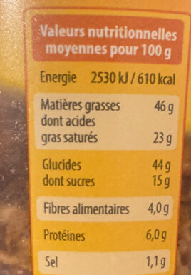 Oignons frits snack - Nutrition facts - fr