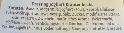 Salatfix, Joghurt Kräuter Dressing Leicht - Inhaltsstoffe - de