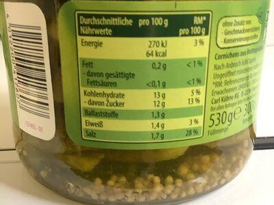 Gürkchen - Informations nutritionnelles - de