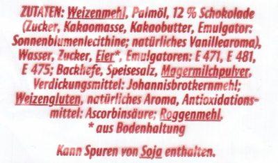 8 Schoko Brötchen - Inhaltsstoffe