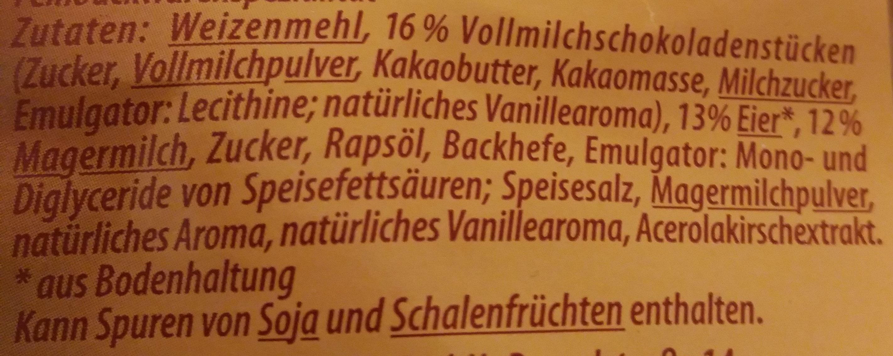 10 Milchbrötchen, aus entrahmter Milch, mit Schokoladenstücken - Ingrediënten - de