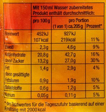 Schlemmer-Pause Creme-Pudding Schokolade/Haselnuss-Geschmack - Informations nutritionnelles