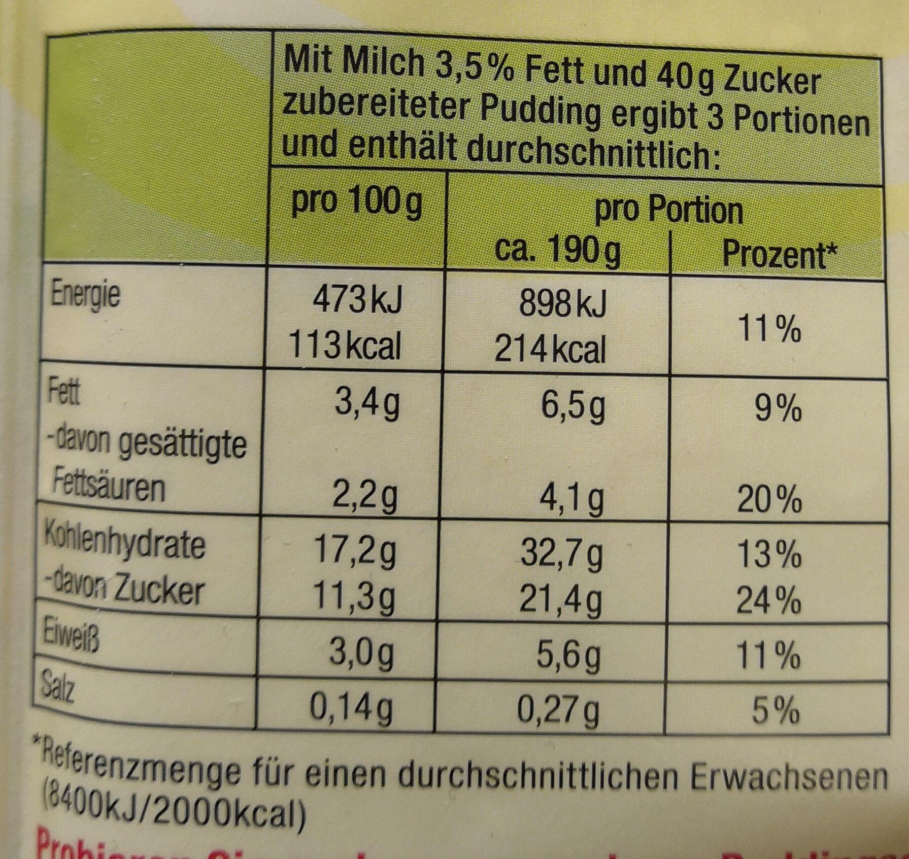 Komet Pudding Bananen-Geschmack - Nährwertangaben - de