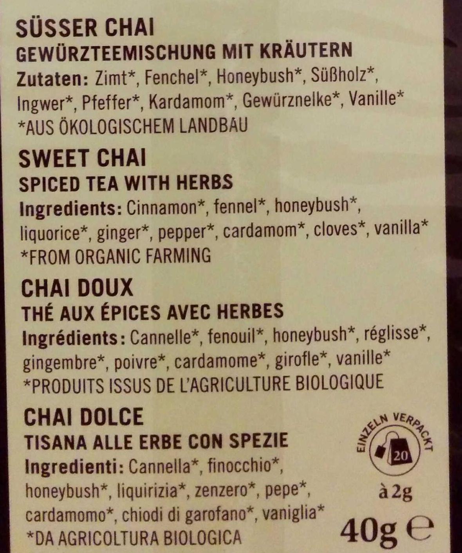 Süßer Chai - Ingredients
