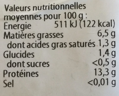 Tofu - Nutrition facts - fr