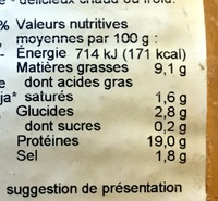 Tofu fumé - Nutrition facts