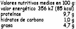 "Tofu ecológico ""Taifun"" Nigari - Información nutricional"
