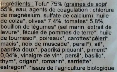 Tofu rosso - Inhaltsstoffe