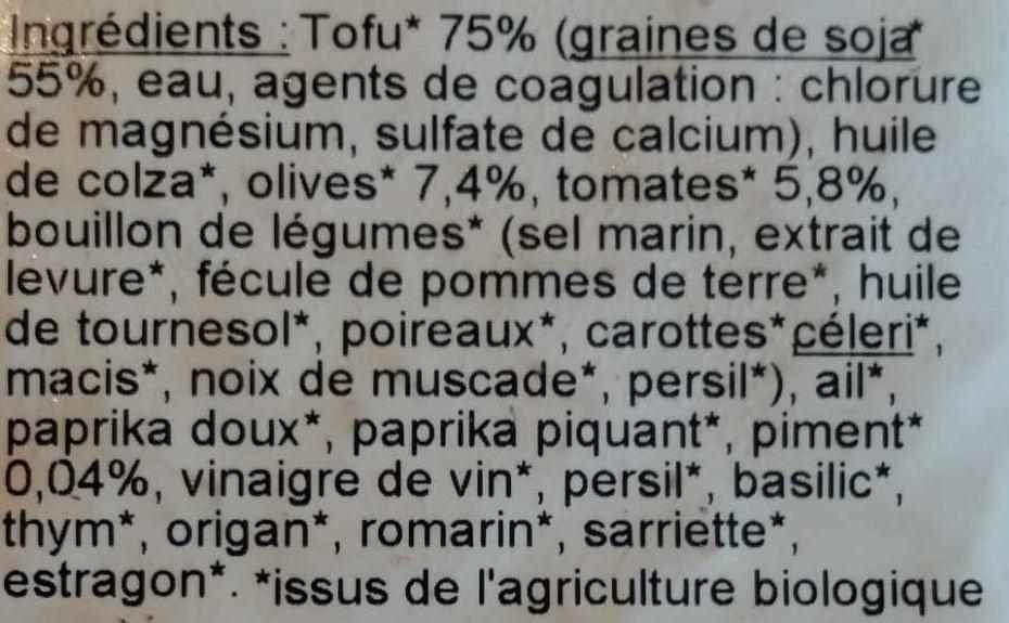 Tofu rosso - Zutaten - fr