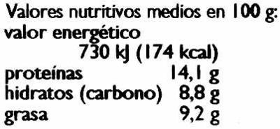 Tofu Curry-Mango - Información nutricional - es