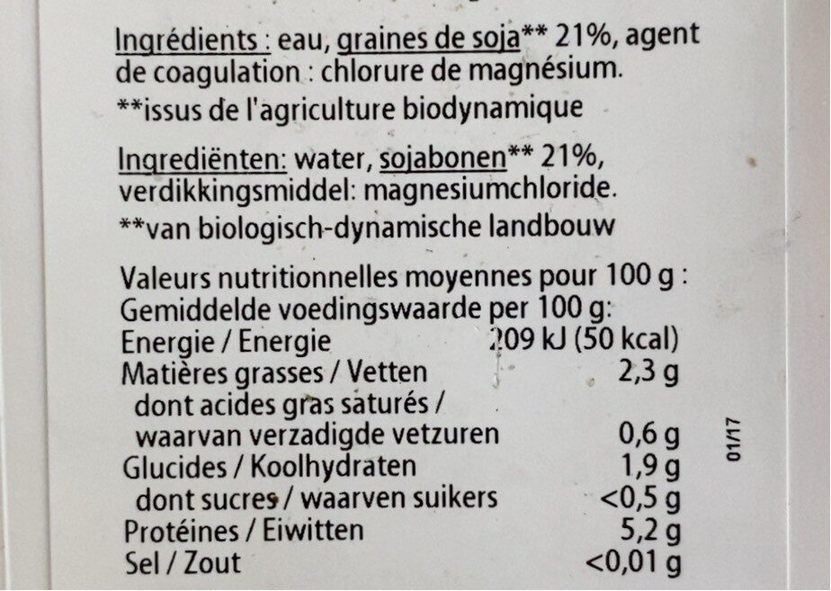 Tofu soyeux - Nutrition facts - fr