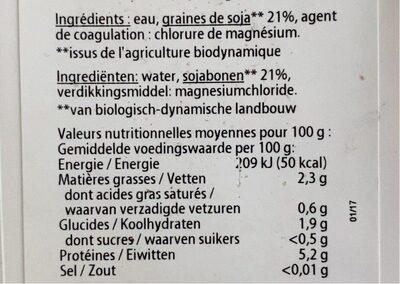 Tofu soyeux - Nährwertangaben - fr