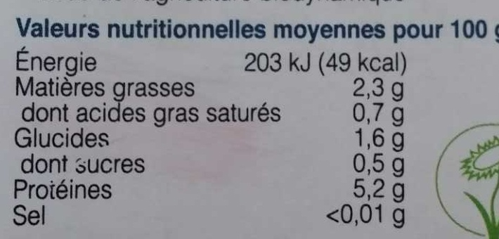 Tofu Soyeux - Nutrition facts
