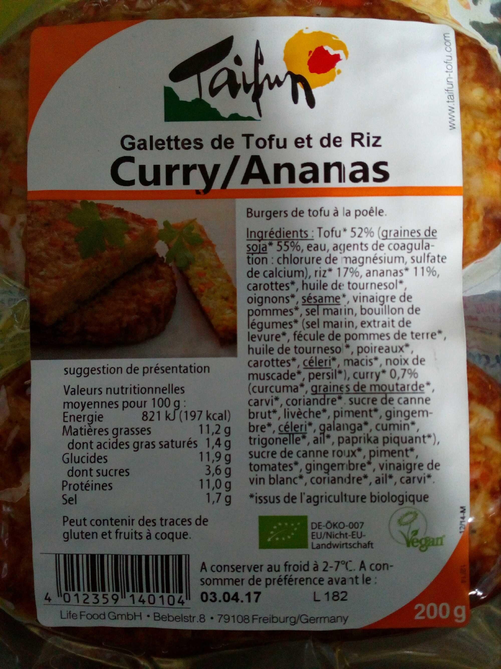 Galettes de tofu et de riz curry/ ananas - Produit - fr