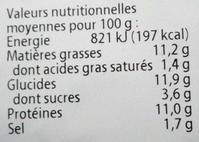 Galettes de tofu et de riz curry/ ananas - Información nutricional - es
