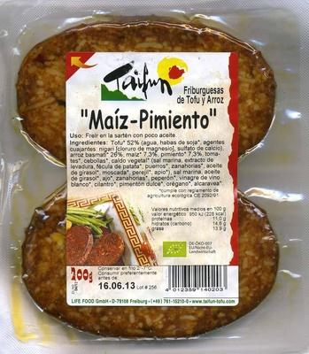 Hamburguesas vegetales Friburguesas de tofu y arroz Maíz-Pimiento - Producto