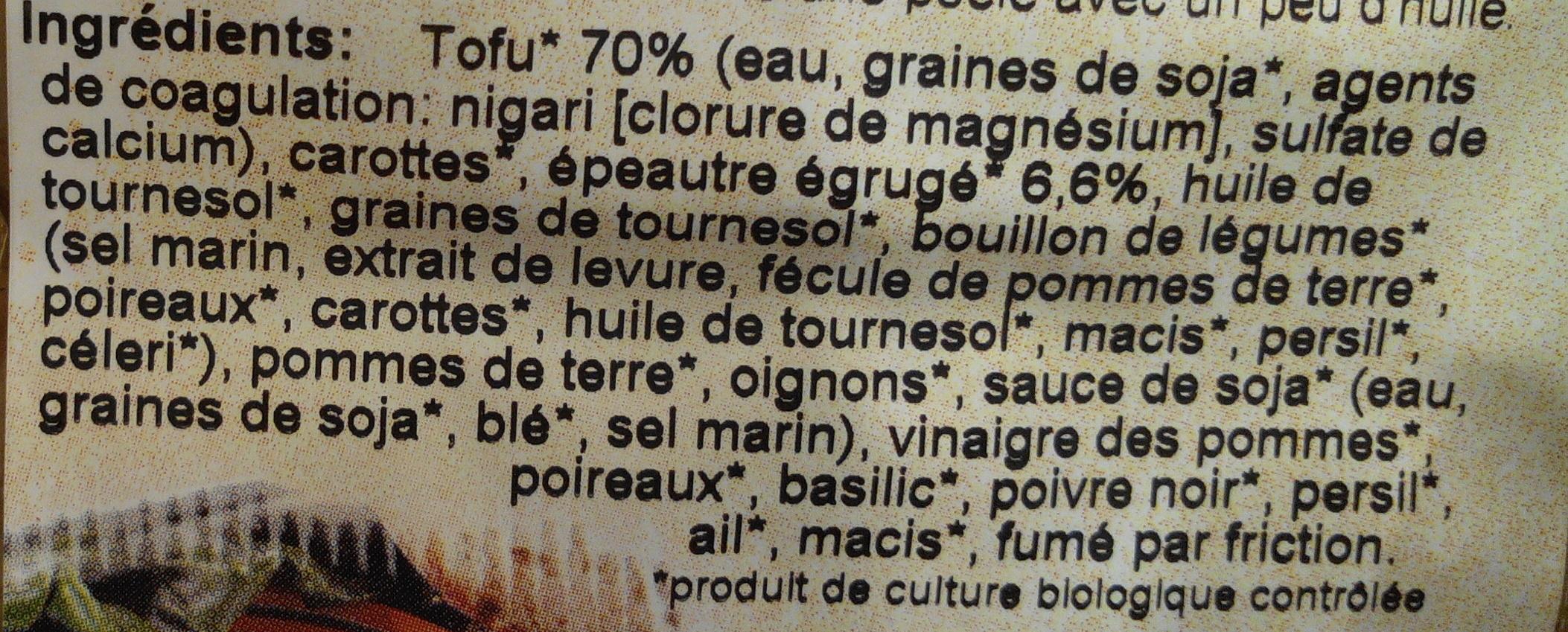 Galettes de tofu à l'épeautre - Ingredients
