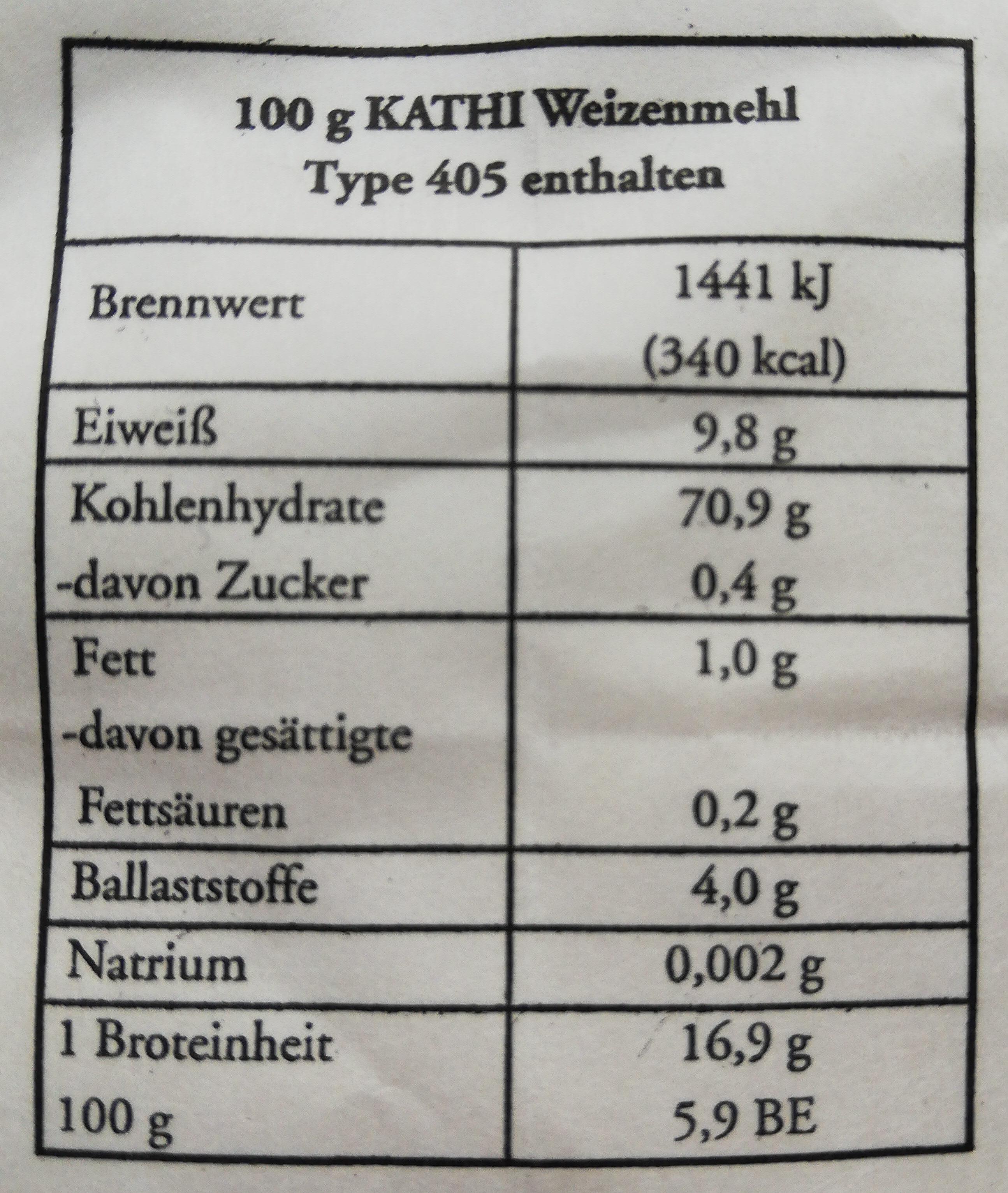 Weizenmehl Type 405 - Informations nutritionnelles - en