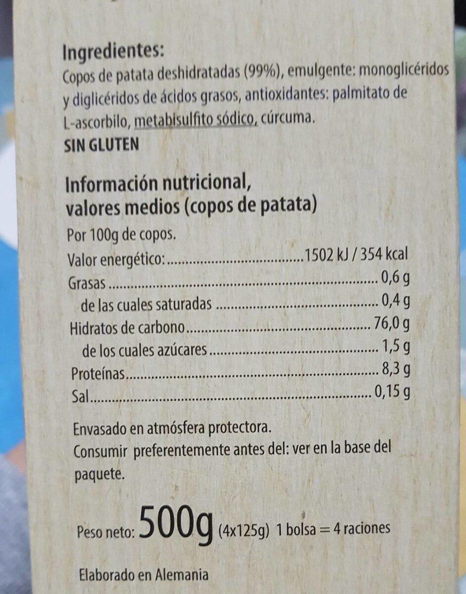 Puré de papas - Información nutricional