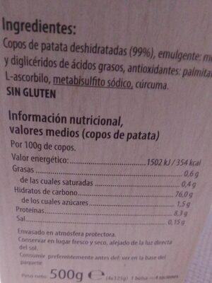 Purè de patatas en copos - Informations nutritionnelles - es