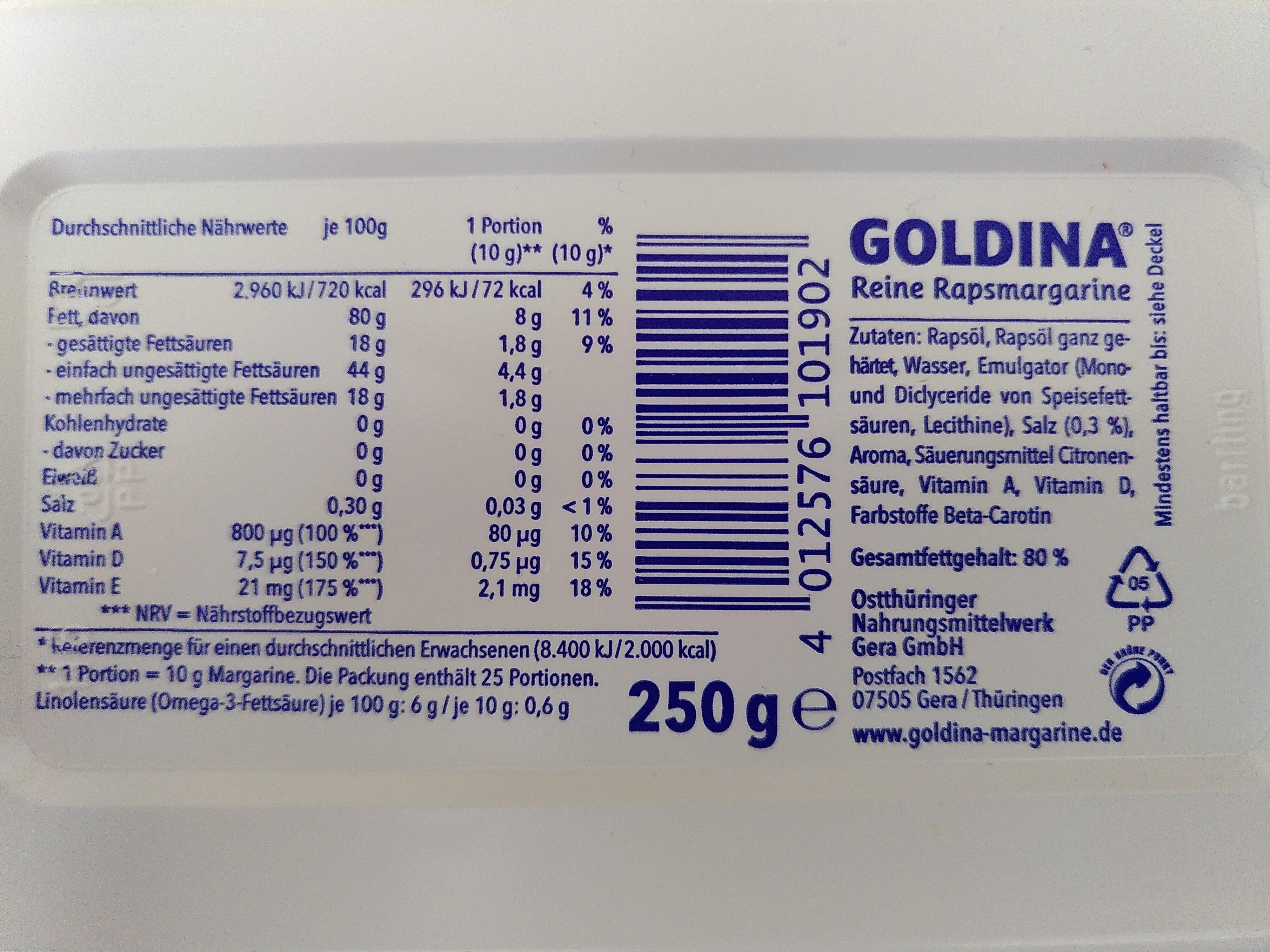 Goldina Reine Rapsmargarine - Ingredients - de