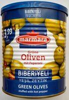 Grüne Oliven mit Peperoni - Produkt - de