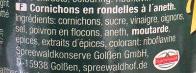 Cornichons en rondelles à l'aneth - Ingrediënten