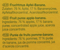 Fruchtmus Apfel-Banane - Ingredients - de
