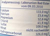 Natürliches Mineralwasser medium - Nutrition facts - de